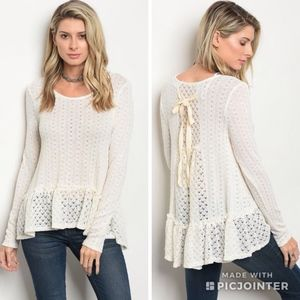 Eyelet Tie back ruffle top. Just arrived!